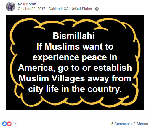 Posting from the Facebook page of Na'il Karim, owner and leader of the Miraj compound)