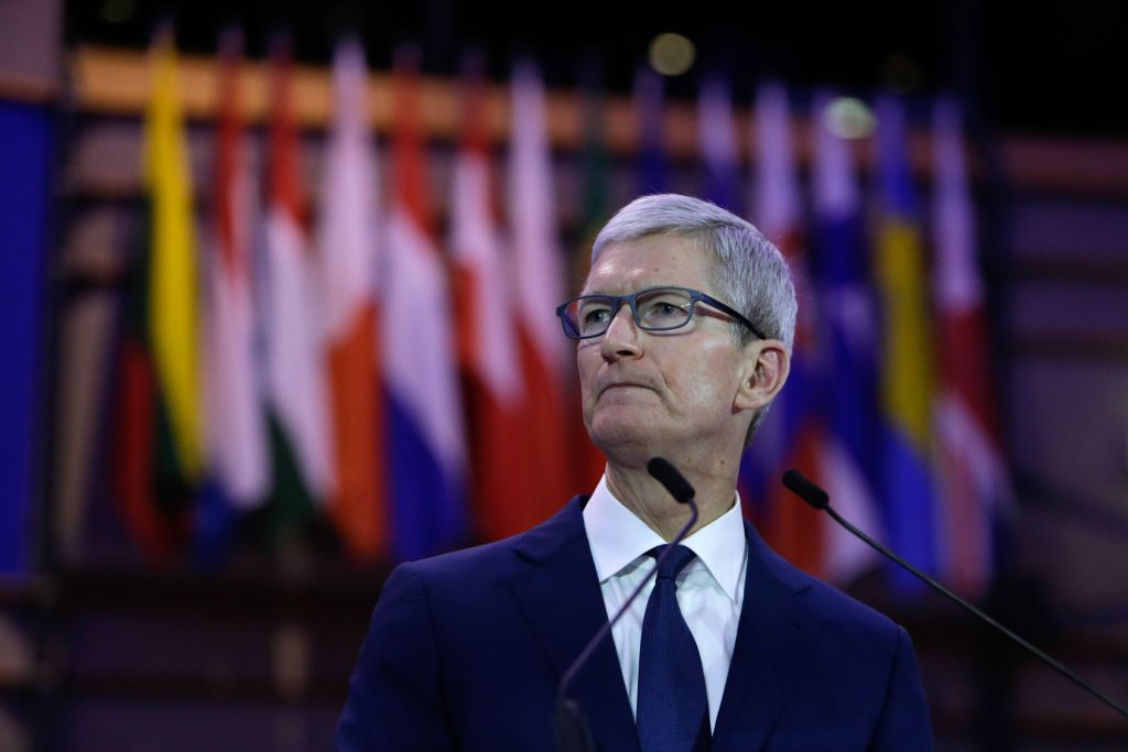 Apple CEO Tim Cook talks at the Debating Ethics event at the European Parliament in Brussels on October 24, 2018. (Photo: Aris Oikonomou / AFP / Getty Images)