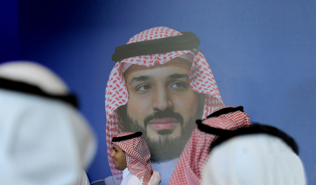 A picture of Crown Prince Mohammed bin Salman on a poster at a global forum in Riyadh (Photo: FAYEZ NURELDINE/AFP/Getty Images)