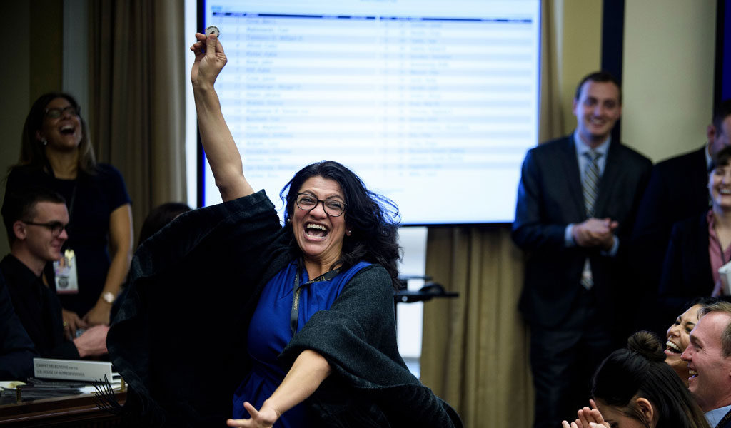 Newly elected Congresswoman Rashida Tlaib reacts to choosing a good number during an office lottery for new members of Congress (Photo: BRENDAN SMIALOWSKI/AFP/Getty Images)