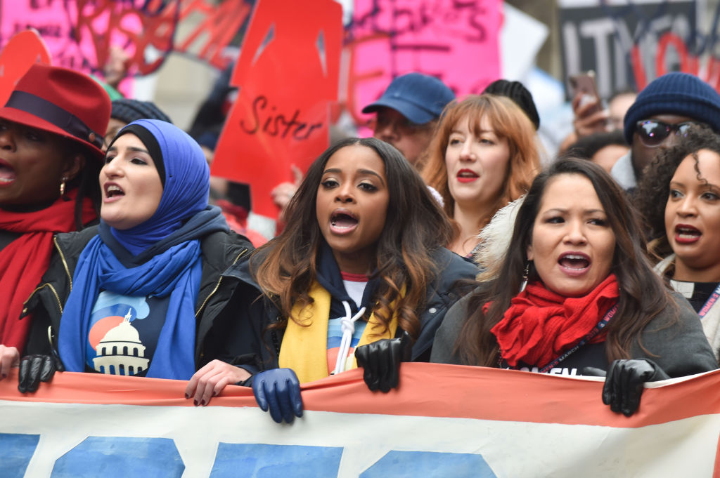 March organizers Tamika D. Mallory and Linda Sarsour lead demonstrators during the Women's March on January 19, 2019. (Photo: Aaron J. Thornton / Getty Images)