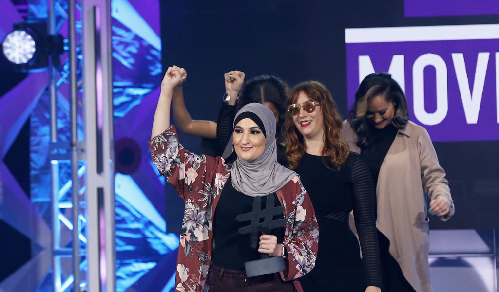 Linda Sarsour (front) with fellow leaders of the Women's March. Sarsour is now Bernie Sander's campaign surrogate (Photo: Bennett Raglin/Getty Images for BET)