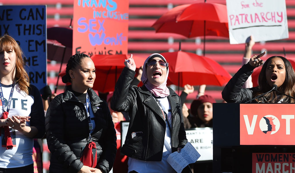 Women's March Co-Chairwomen Bob Bland, Carmen Perez, Linda Sarsour and Tamika Mallory at the Women's March 'Power to the Polls' voter registration tour in January 2018 in Las Vegas. (Photo: Ethan Miller/Getty Images)