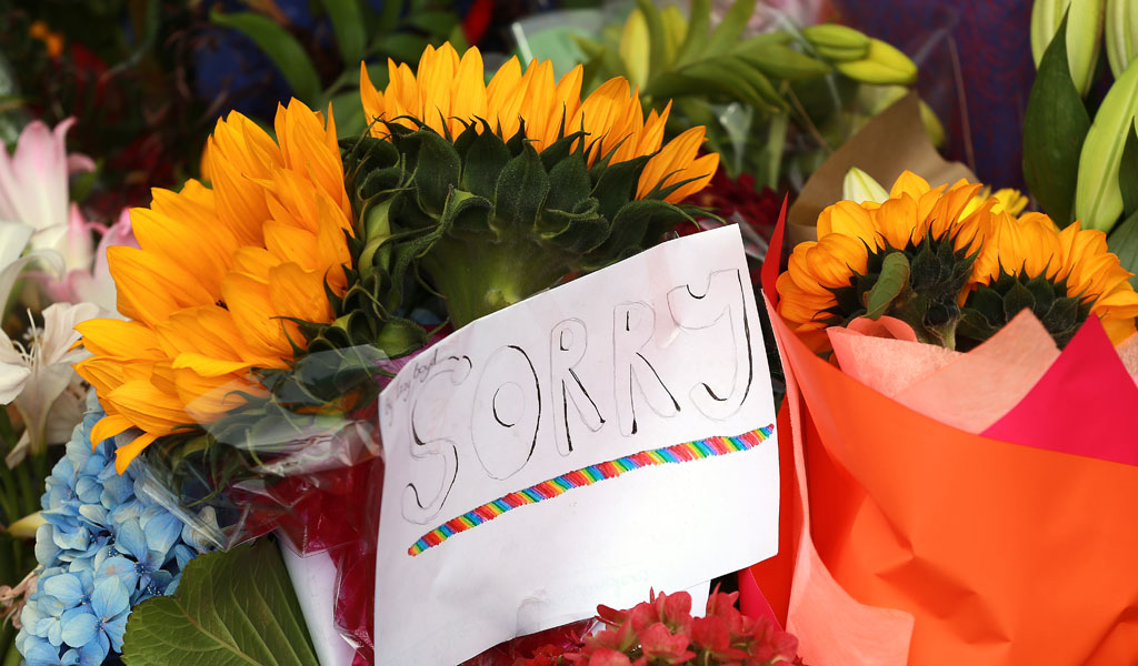 Flowers laid at the Kilbirnie Mosque, one of the sites of the attacks in New Zealand (Photo: Hagen Hopkins/Getty Images)
