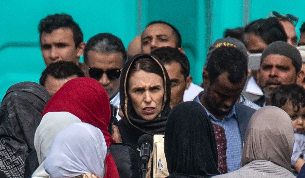 News Zealand Prime Minister Jacinda Ardern arrives for prayers in solidarity with the Muslim community after the massacre 50 worshipers in two mosques in Christchurch (Photo: Carl Court/Getty Images)