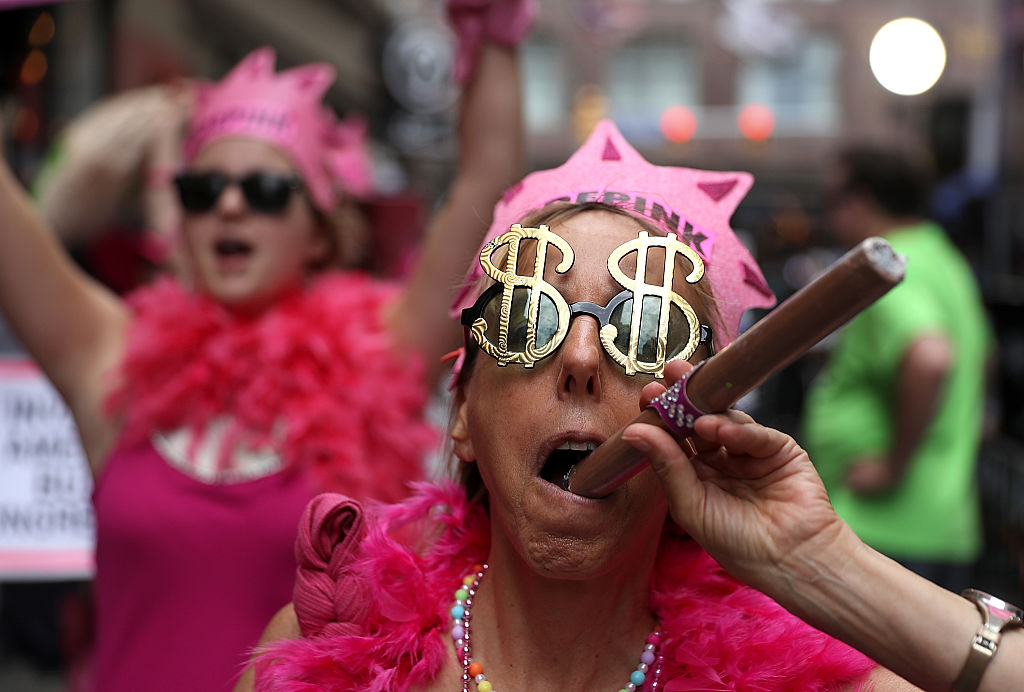 CODEPINK founder Medea Benjamin along with members of the activist group. (PHOTO: JUSTIN SULLIVAN / GETTY ORIGINAL)