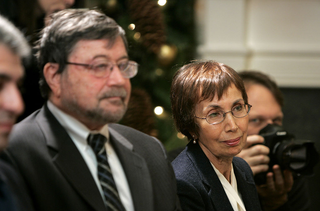 Judea (L) and Ruth Pearl, the parents of slain journalist Daniel Pearl, listen as U.S. President George W. Bush speaks to the media after meeting with Jewish community leaders. (PHOTO: Matthew Cavanugh-Pool / Getty Images)