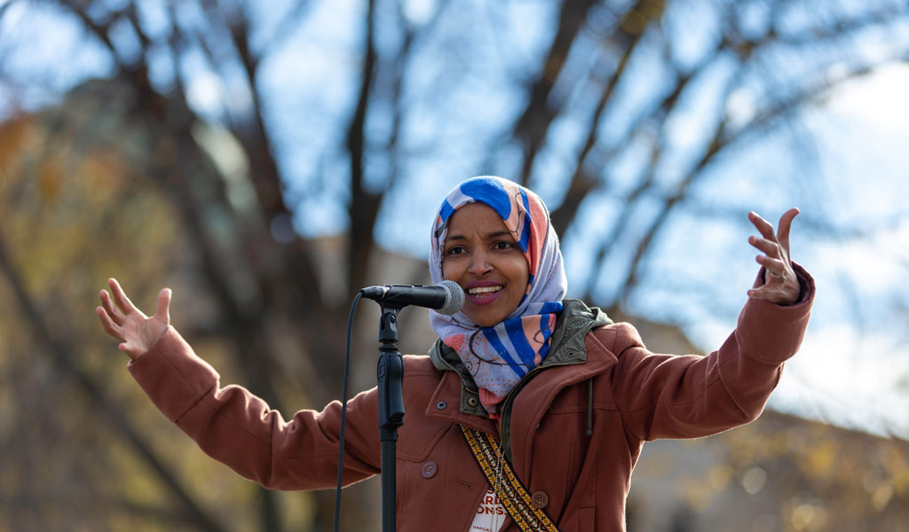 Congresswoman Ilhan Omar shown here on the campaign trail in November 2018 (Photo: KEREM YUCEL/AFP/Getty Images)