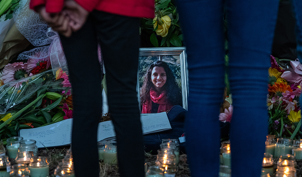 People view a tribute to 25-year-old masters student Ansi Alibava near Al Noor mosque on March 19, 2019 in Christchurch, New Zealand. 50 people were killed, and dozens are still injured in hospital after a gunman opened fire on two Christchurch mosques on Friday, 15 March. The accused attacker, 28-year-old Australian, Brenton Tarrant, was charged with murder and remanded in custody until April 5. The attack is the worst mass shooting in New Zealand's history. (Photo: Carl Court / Getty Images)