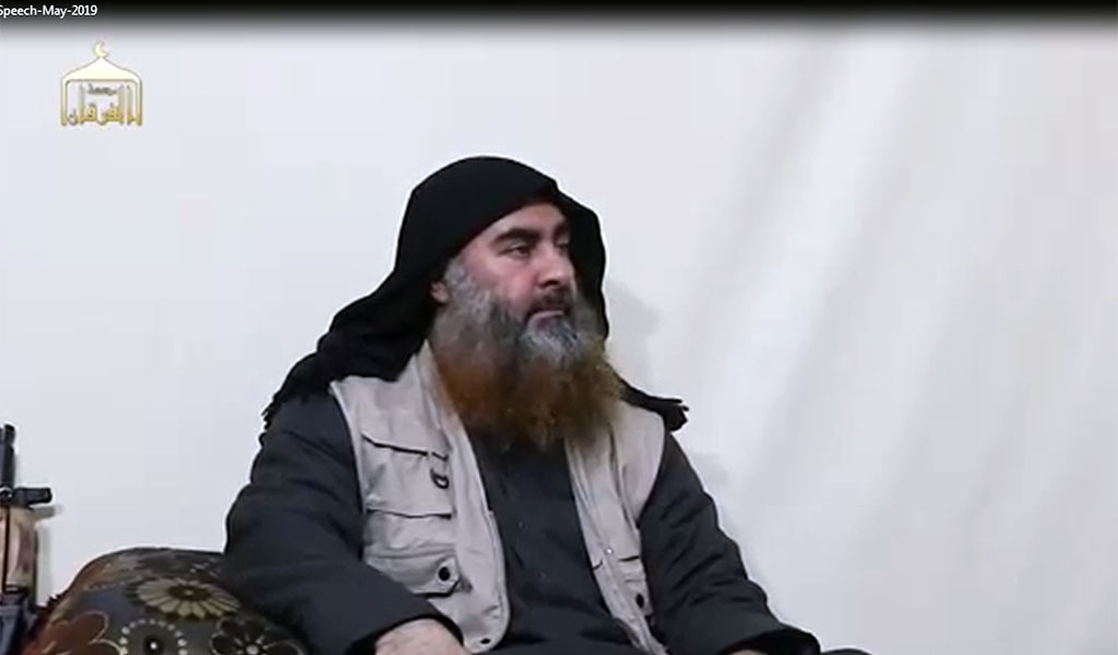 ISIS head Abu Bakr Al-Baghdadi as he appeared in a May 2019 video