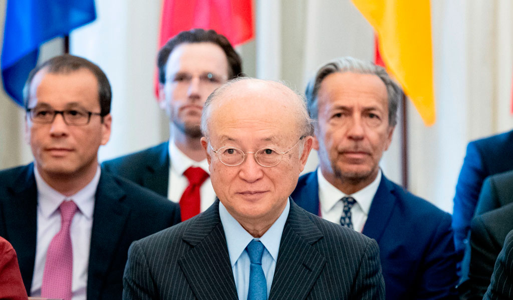 Director General of the International Atomic Energy Agency (IAEA) Yukiya Amanoa at a meeting regarding the nuclear deal with Iran in Vienna in May, 2018, shortyly after the ISraeli disclosure (Photo: JOE KLAMAR/AFP/Getty Images)