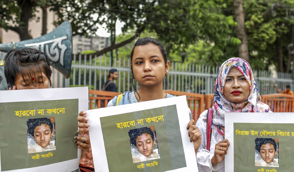 A protest against the murder of 19-year-old Nusrat Jahan Rafi, who was burned to death in Bangladesh on the orders of her head teacher after she reported him for sexually harassing her. The murder parked protests across the South Asian nation, with the prime minister promising to prosecute all those involved. (Photo: SAZZAD HOSSAIN/AFP/Getty Images)