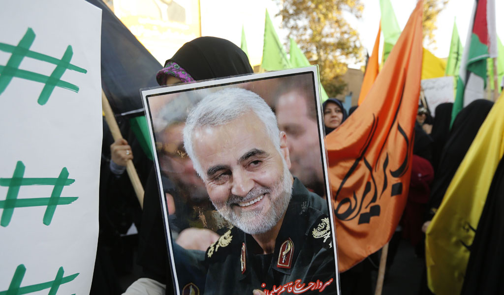 Iranian protesters hold a portrait of the commander of the Iranian Revolutionary Guard's Quds Force, Gen. Qassem Suleimani, during a demonstration in the capital Tehran to denounce President Trump's declaration of Jerusalem as Israel's capital. (Photo: read ATTA KENARE/AFP/Getty Images)