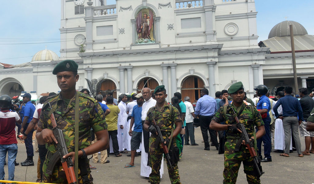 Sri Lankan security personnel keep watch outside St. Anthony's Shrine in Kochchikade in Colombo, one of the churches attacked on Easter Sunday, April 21, 2019. Close to 140 were killed when a string of blasts ripped through three churches and three hotels as worshipers attended Easter services. (Photo: ISHARA S. KODIKARA/AFP/Getty Images)