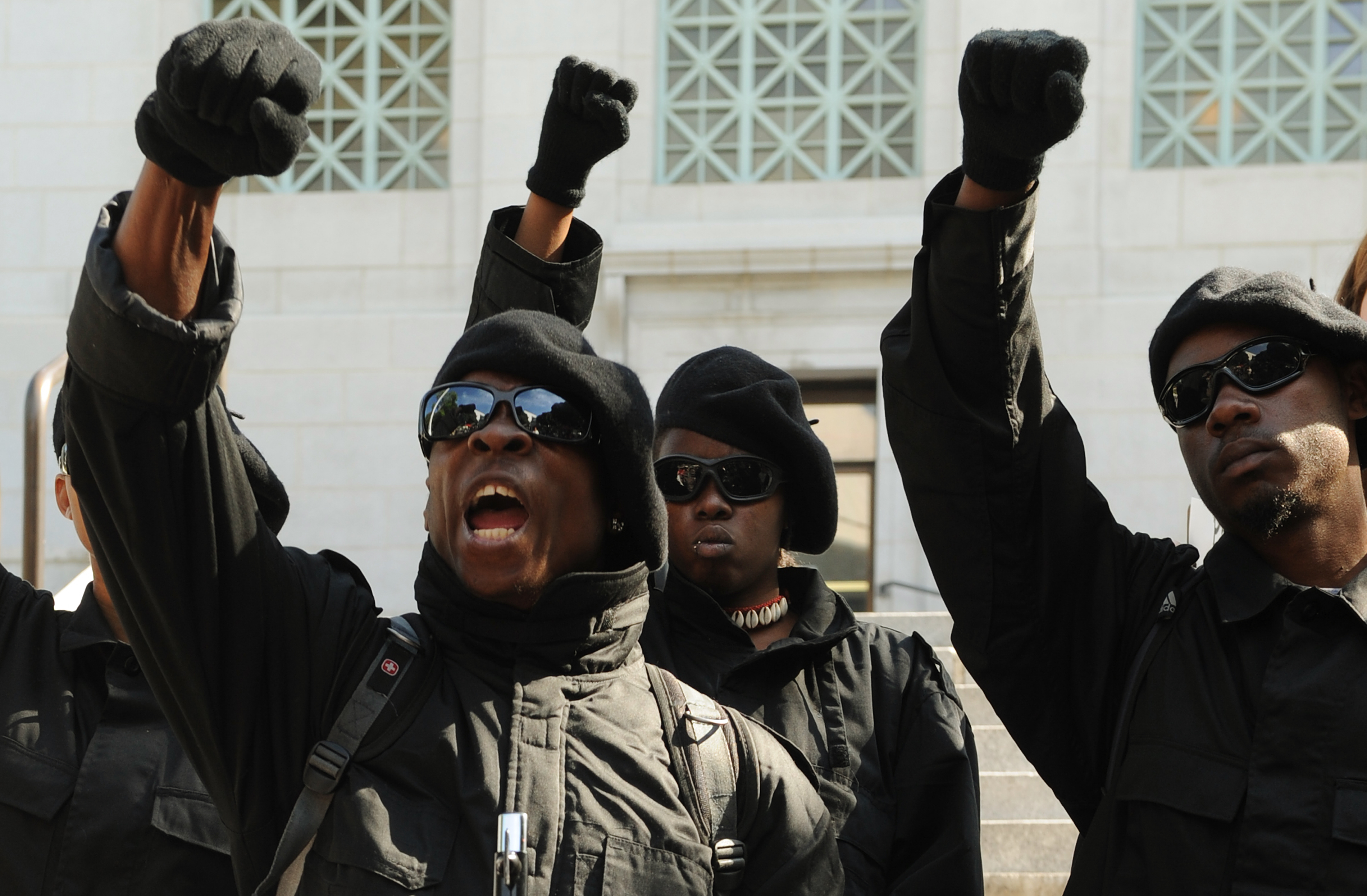 Members of the New Black Panther Party demonstrate in Los Angeles (Photo: MARK RALSTON/AFP/Getty Images)