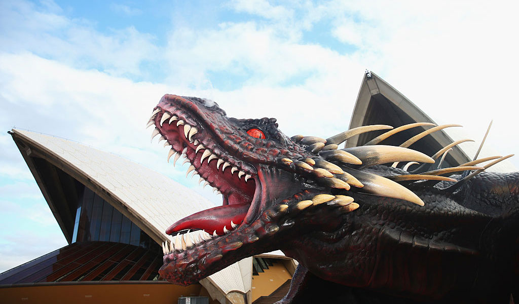 A model of one of Daenerys Targaryen's dragons from the Game of Thrones outside the Sydney Opera House (Photo: Ryan Pierse/Getty Images)