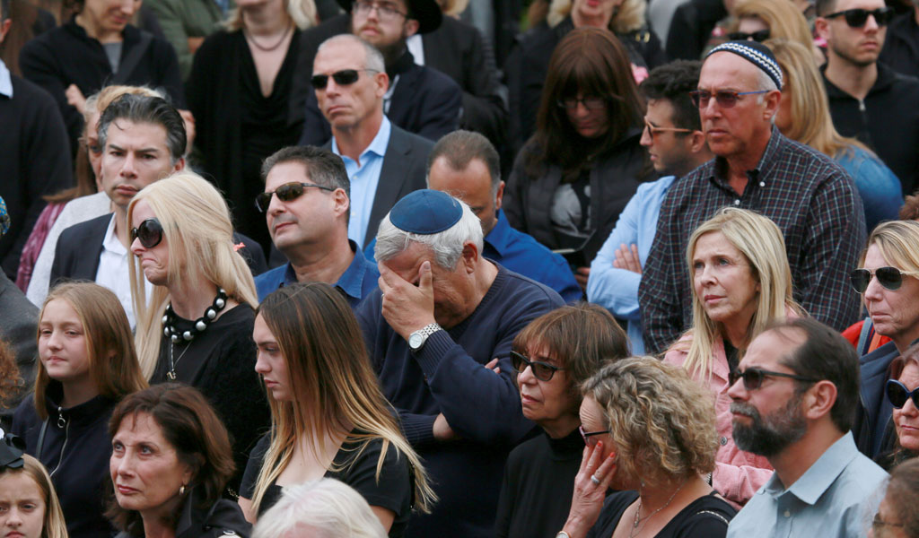 Mourners at the funeral of Lori Gilbert-Kaye, who was killed during the Poway synagogue attack in April 2019 (Photo: SANDY HUFFAKER/AFP/Getty Images)