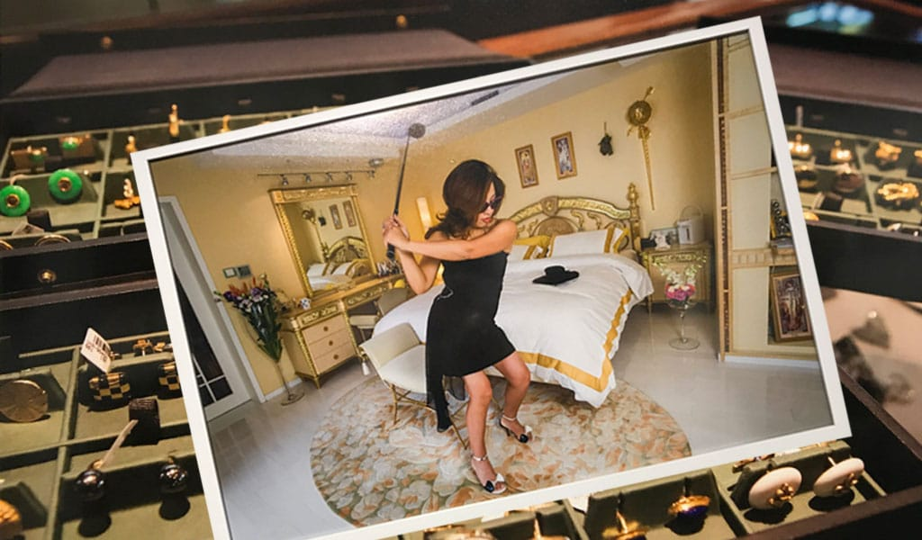 Generation Wealth. Inset: Xue Qiwen, 43, in her Shanghai apartment decorated with Versace furniture, her favorite brand, 2005. In 1994, Xue started an industrial cable company and has since run four more. She is a member of three golf clubs, each costing about $100,000 to join. Background: A Wall Street investment banker's cuff links collection being sold in an upscale jeweler's shop in Greenwich, Connecticut, home to America's richest neighborhood, 2012 (Photos: Flickr/A.Davey)