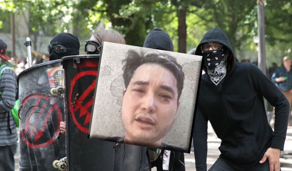 Inset: Journalist Andy Ngo after the assault (Background photo of Antifa rally in Portland: Scott Olson/Getty Images)