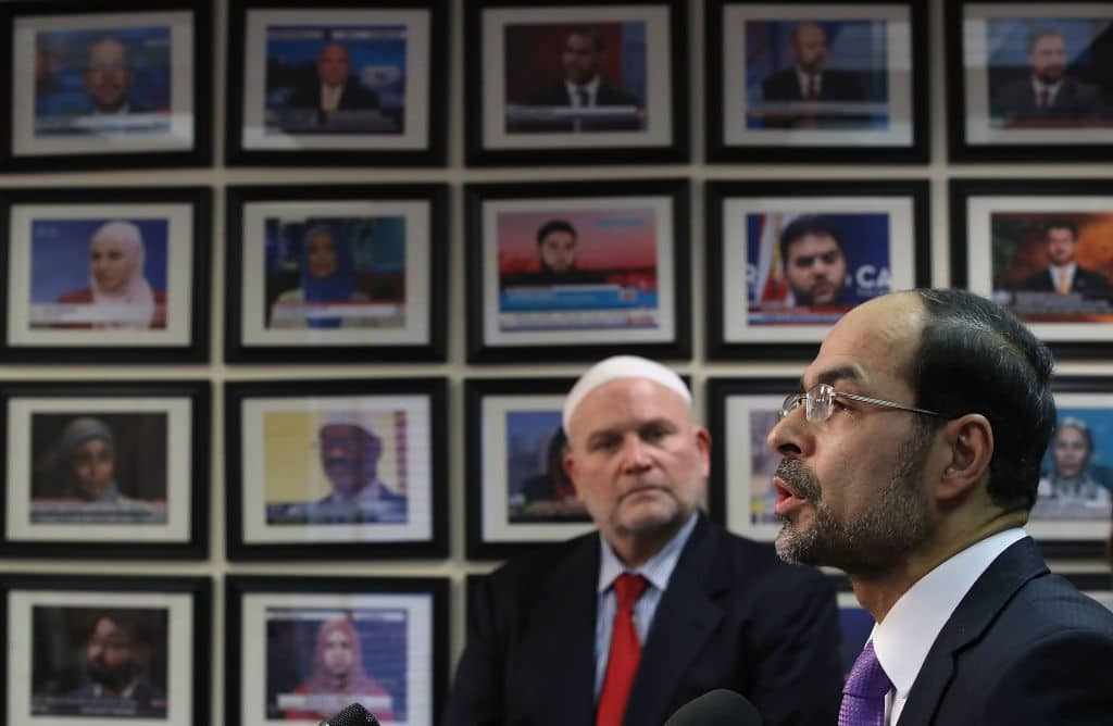 CAIR's Founder and Executive Director Nihad Awad (R) with National Communications Director and Spokesman Ibrahim Hooper (Photo: Mark Wilson/Getty Images)