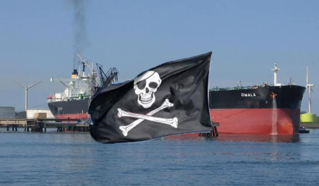 (Illustrative photo: Background oil tanker - Danny Cornelissen/Wikipedia Commons; pirate flag - Pxhere)