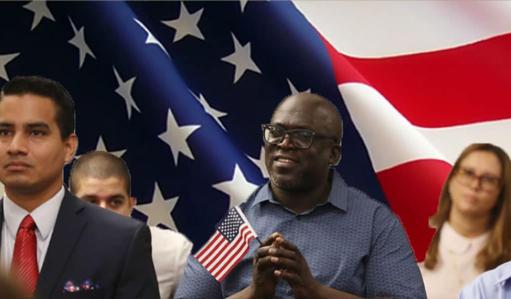 Roundel Semple, originally from Guyana,, becomes an American citizen during a naturalization ceremony (Photo: by Joe Raedle/Getty Images; Background photo: Flickr/Harris.NEWS)