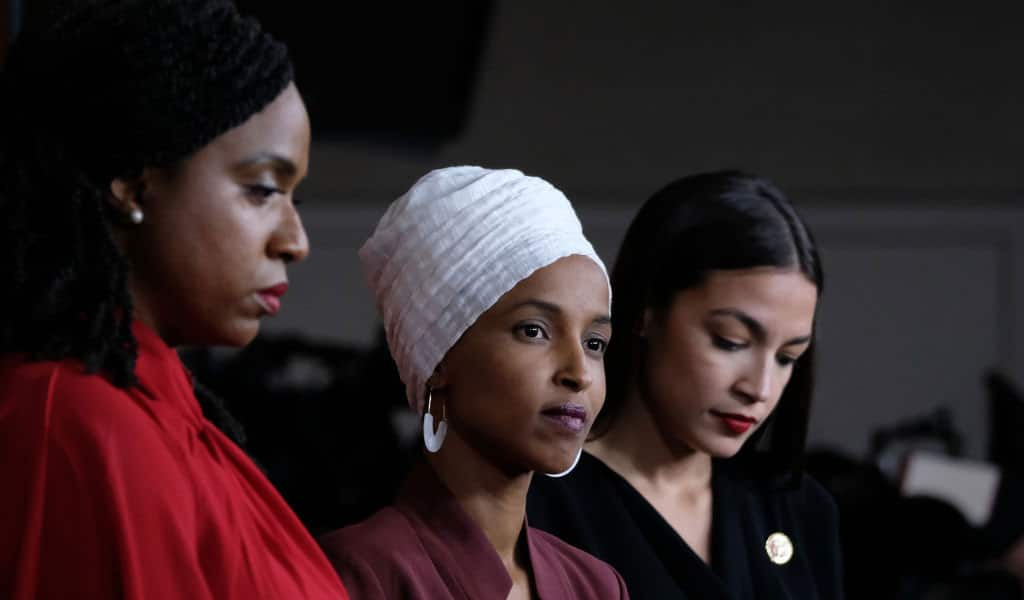 Congresswoman Ilhan Omar at a pres conference with U.S. Reps. Ayanna Pressley and Alexandria Ocasio-Cortez (Photo: Alex Wroblewski/Getty Images)
