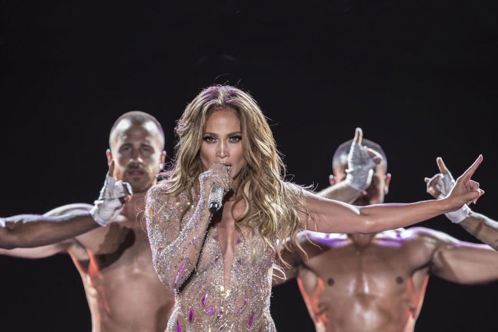 J-Lo (Jennifer Lopez) performs onstage during her concert on the beach of New Alamein, north of Cairo August 9, 2019. (Photo: KHALED DESOUKI/AFP/Getty Images)