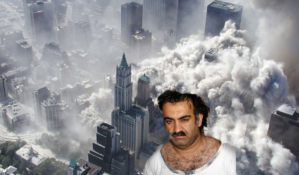 The 9/11 attack as seen from above; inset: 9/11 mastermind Khalid Shaikh Mohammed (Photos: Flickr/Wikimedia Commons/CO 2.0)