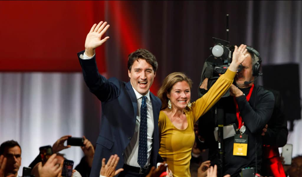 Liberal leader and Canadian Prime Minister Justin Trudeau with his wife Sophie Grégoire Trudeau on election night October 21, 2019. Trudeau remained in power with a minority government. (Photo: Cole Burston/Getty Images)