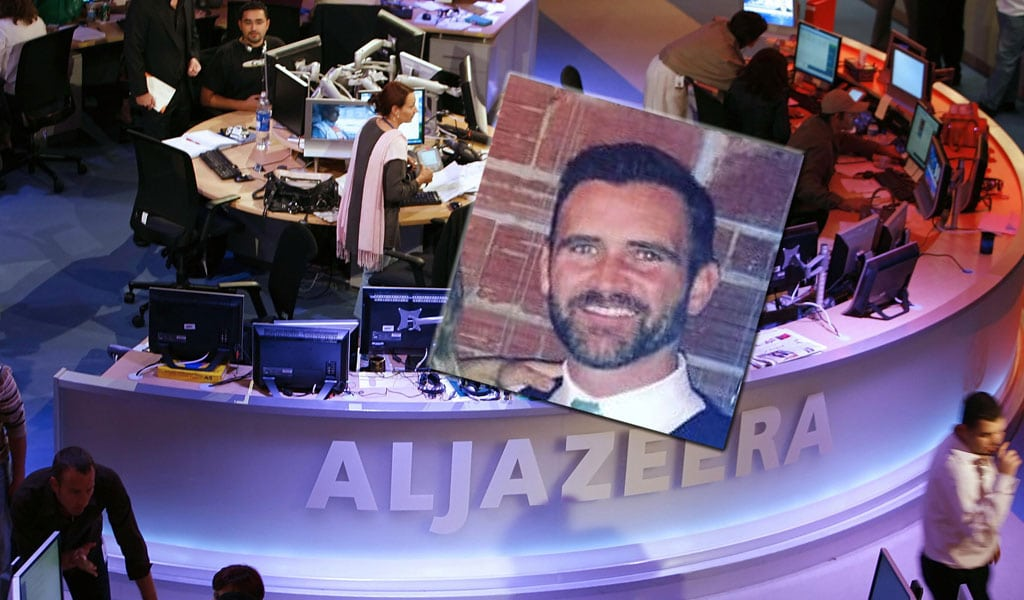 The Al Jazeera newsroom; inset: Professor Justin D. Martin (Photos: KARIM JAAFAR/AFP/Getty Images; inset: Twitter)
