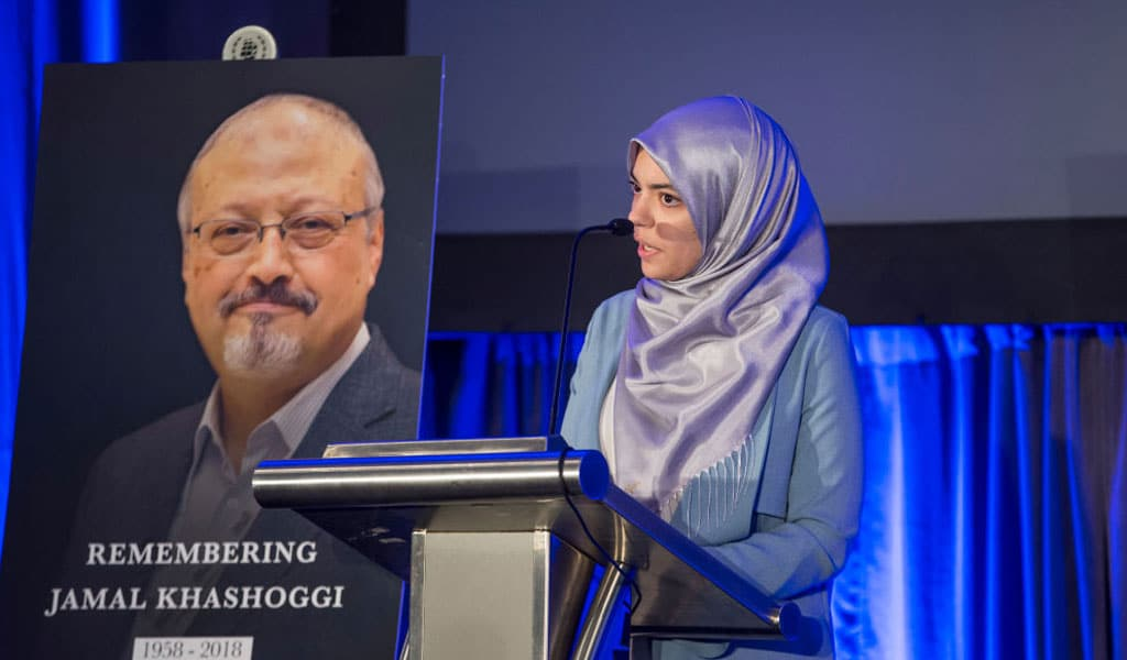 Abrar Omeish speaks at a memorial for journalist Jamal Khashaggi, who was murdered by the Saudis. Khashoggi was a Qatari asset that had connections to the Muslim Brotherhood and Osama Bin Laden (Photo: Zach Gibson/Getty Images)
