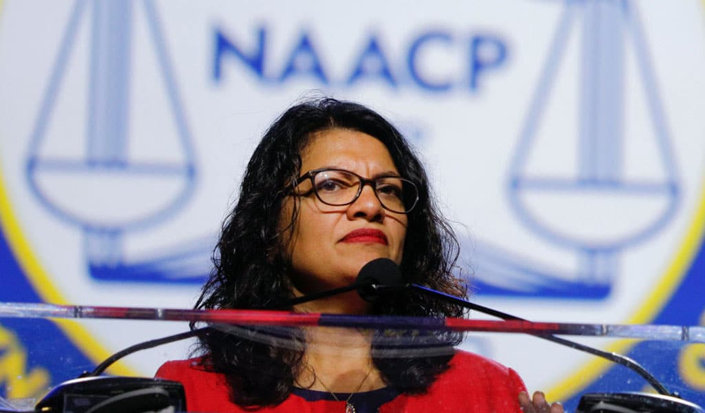 Congresswoman Rashida Tlaib speaks at the NAACP (Photo: Bill Pugliano/Getty Images)