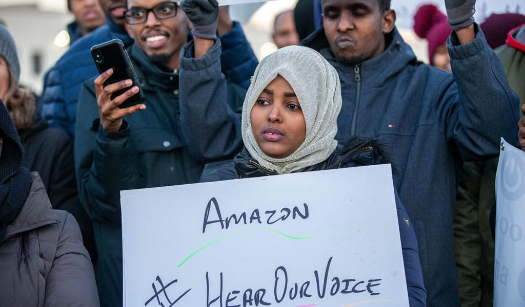 Somali immigrant workers protest at Amazon (Photo: KEREM YUCEL/AFP via Getty Images)