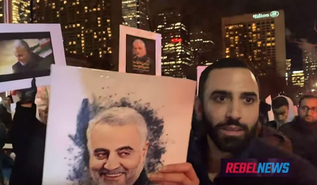 Demonstrators in Toronto in support of assassinated Iranian General Qasem Soleimani (Photo: Rebel Media video screenshot)