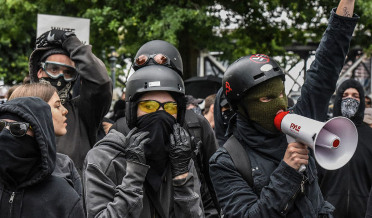 Antifa activists in Portland have engaged in political violence. Trump has proposed to designate Antifa as a domestic terrorist group (Photo: Stephanie Keith/Getty Images)