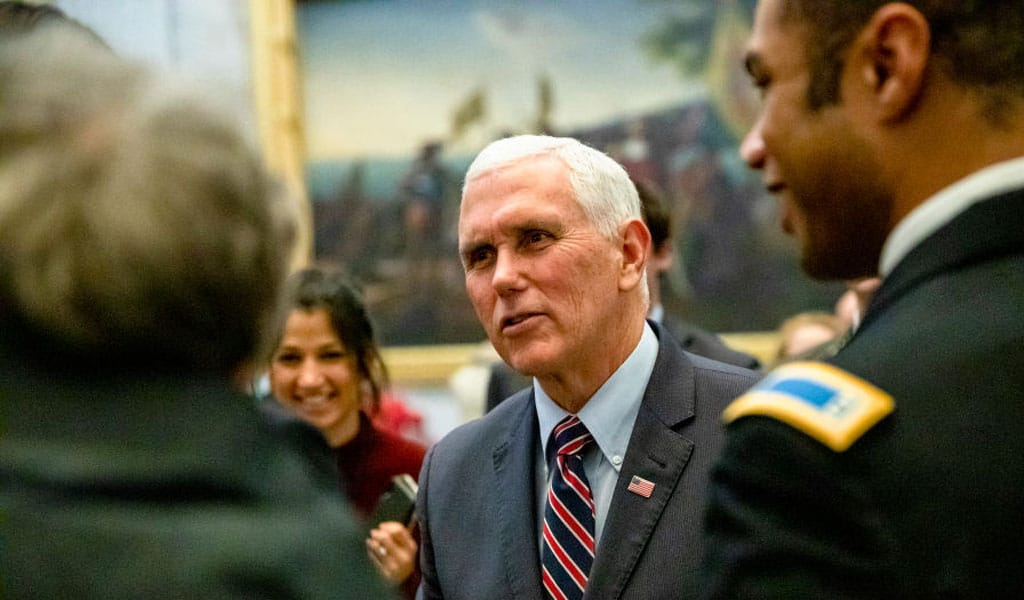 Vice President Mike Pence, shown here greeting soldiers at the Capitol, will be attending the Holocaust memorial event in Jerusalem. The Palestinian Authority has called for a terror attack at the event. (Photo: US Vice President Mike Pence, shown here greeting soldiers, is scheduled to attend the Holocaust memorial event in Jerusalem. The Palestinian Authority has called for a terror attack at the event. (Photo: Samuel Corum/Getty Images)