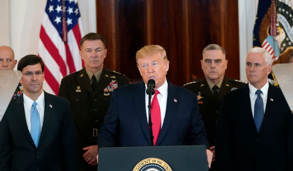 """U.S. President Donald Trump speaks from the White House on January 08, 2020 in Washington, DC. As part of his Iran strategy, Trump stated first off, """"As long as I am president of the United States, Iran will never be allowed to have a nuclear weapon.""""(Photo: Win McNamee/Getty Images)"""