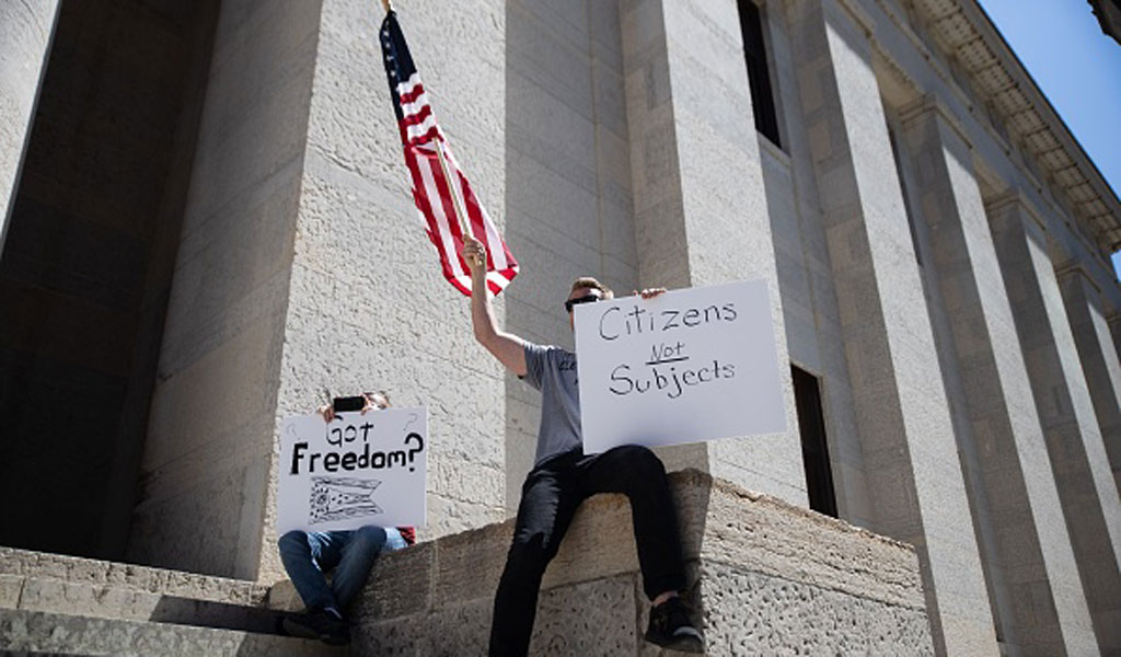 A protest against the overreach of government-mandated quarantines in Ohio (Photo: MEGAN JELINGER/AFP via Getty Images)