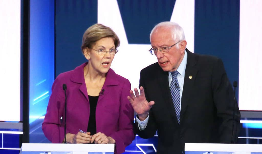 Then presidential candidates Elizabeth Warren and Bernie Sanders. Both want the US to give $75 million in aid money to the terror-run Palestinian Authority and Gaza (Photo: Mario Tama/Getty Images)