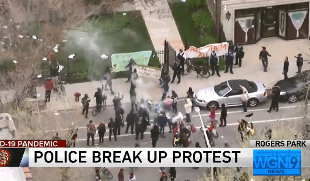 Scene from the Antifa attack on the Heartland Allaince home for migrants and unaccompanied children (Photo: screenshot from WGN9 News video)