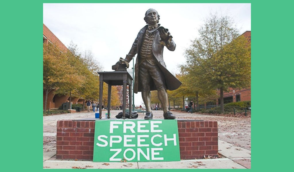 A George Mason University student set up this sign and actively invited students into the university's 'free speech zone' as a way to raise awareness about college campus free speech (Photo: dcJohn/Flickr/CC2.0)