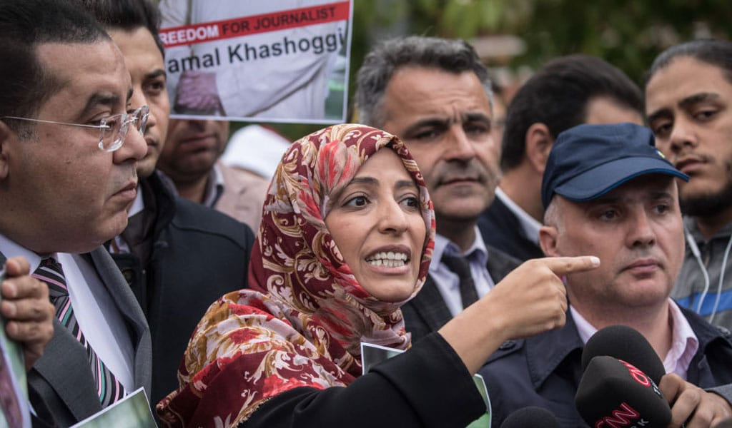 Tawakkol Karman speaks to the media in Istanbul while protesting the disappearance of Jamal Khashoggi. Karman, a Muslim Brotherhood operative was recently appointed to Facebook's oversight board (Photo: Chris McGrath/Getty Images)