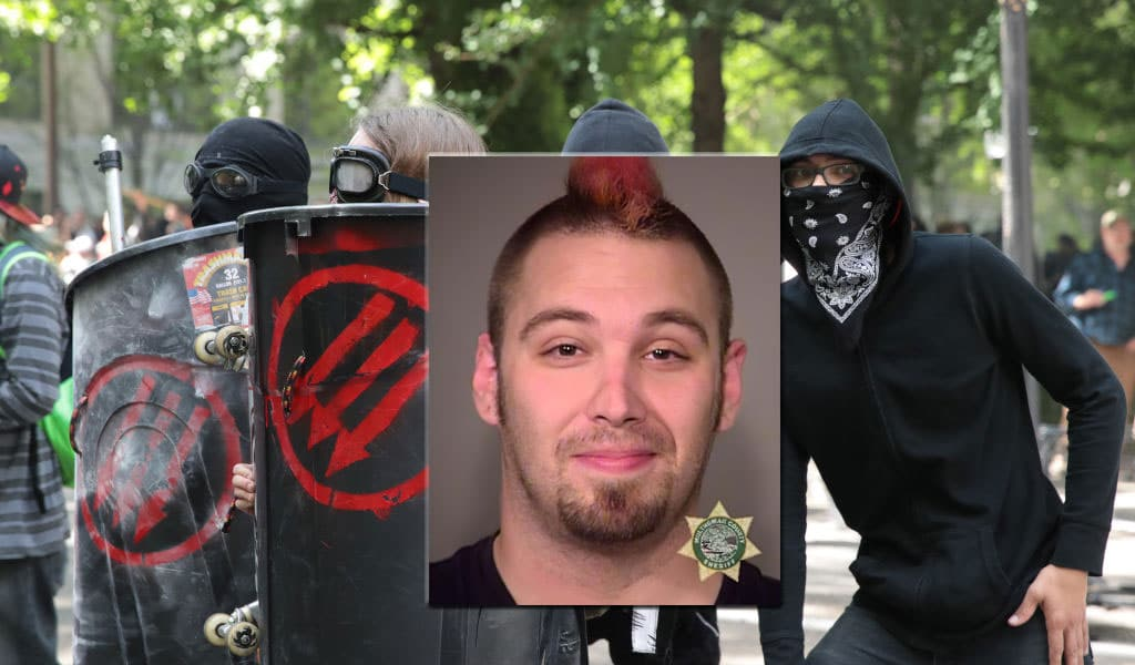 Inset: Booking photo for James Mattox from a previous arrest in 2016. Background: Antifa protesters in Portland in June 2017 (Photo: Scott Olsen/Getty Images)