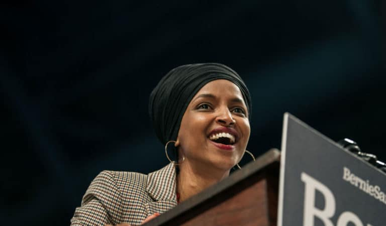 Congresswoman Ilhan Omar on the campaign trail for Bernie Sanders. She recently gave an interview in which she invoked antisemitic slurs, as she has done in the past (Photo: Scott Heins/Getty Images)