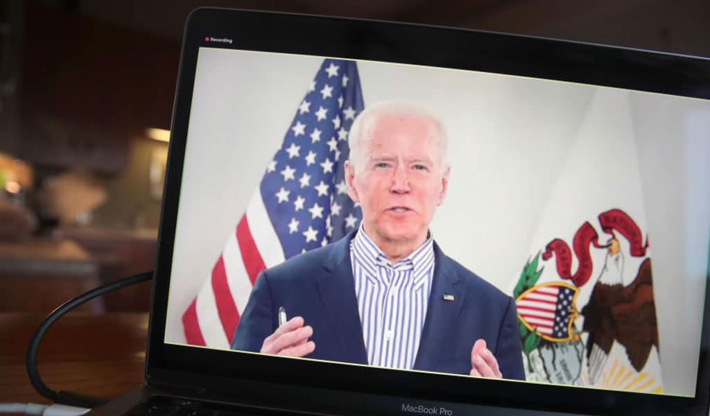 Democrat presidential candidate Joe Biden holds a virtual town hall. Biden recently said he would resume funding of the Palestinian Authority (Photo: Scott Olson/Getty Images)