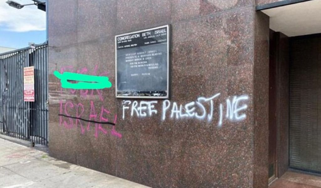 Graffiti after rioting on Congregation Beth Israel in Los Angeles. Five synagogues, three Jewish schools and many Jewish-owned businesses were targeted in the riots in LA (Photo: Twitter)