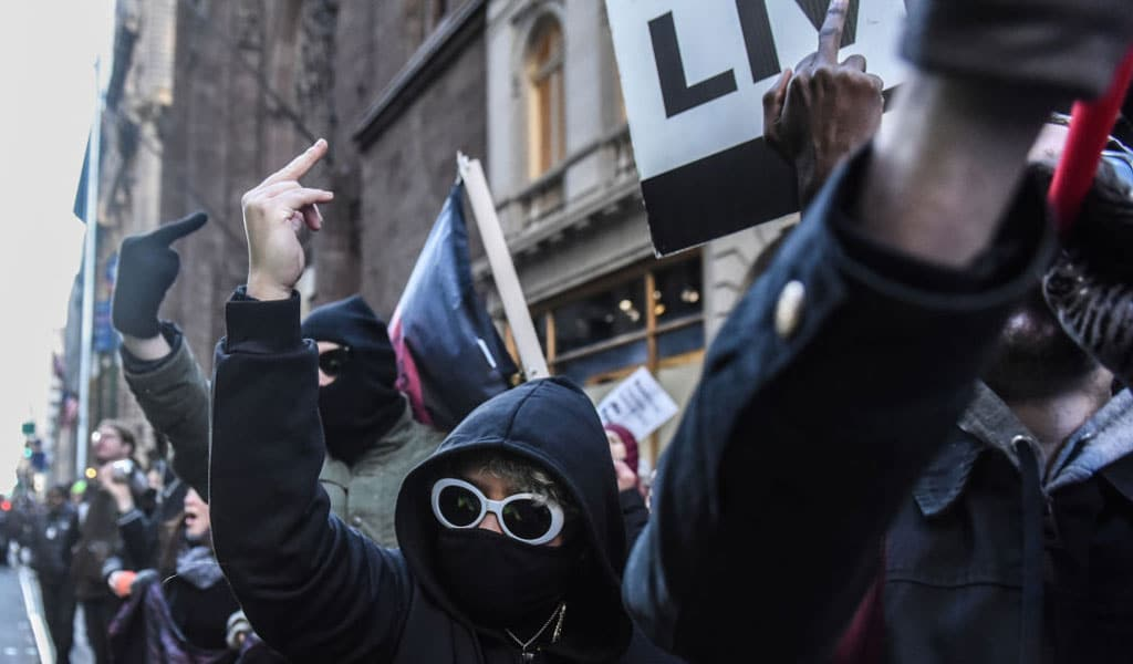 Protesters affiliated with the Antifa movement demonstrate in NYC in November 2019 (Photo: Stephanie Keith/Getty Images)