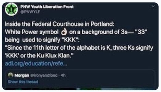 Tweet by the Pacific Northwest Youth Liberation Front (Photo: Twitter)
