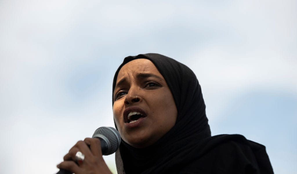 Ilhan Omar speaks at a recent protest rally (Photo: Stephen Maturen/Getty Images)